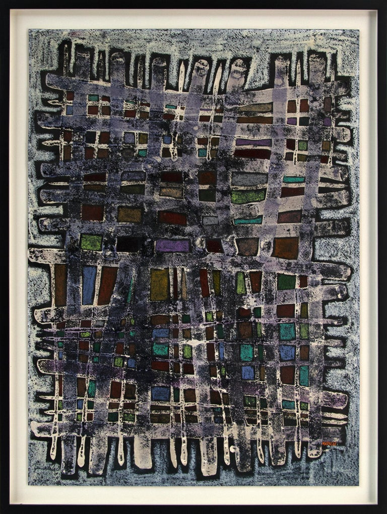 """1960s original vintage signed framed painting by Denver modernist, Edward Marecak (1919-1993), """"Warp and Woof"""" is a mid-century modern abstract painting of a textile on a loom with varying hues of purple, white, red, blue, yellow and black."""