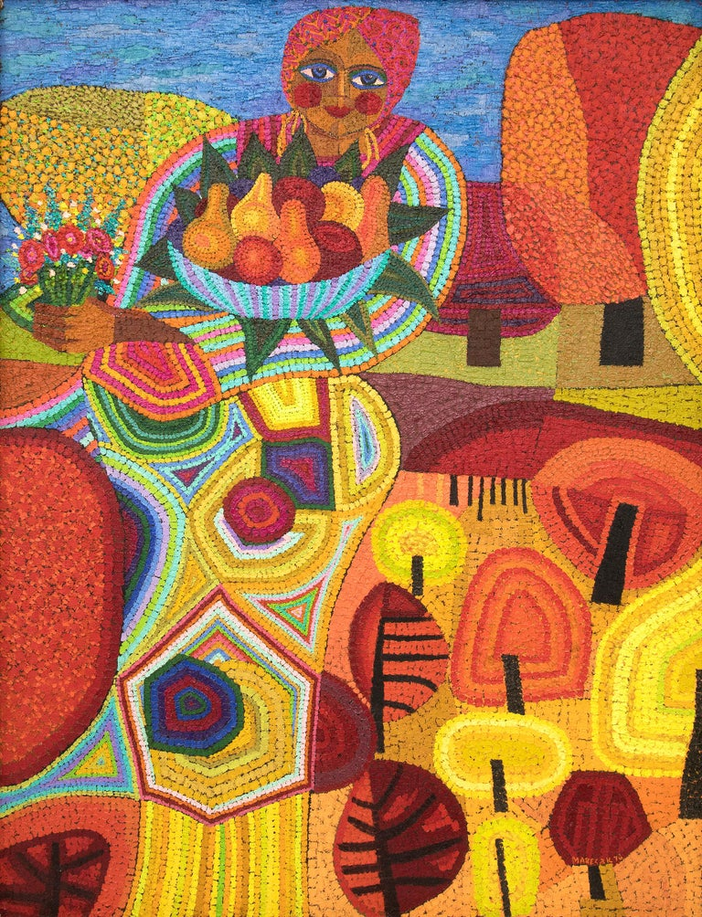 Demeter (Semi-Abstract Painting of woman holding fruit: Orange, Yellow, Blue) - Brown Figurative Painting by Edward Marecak