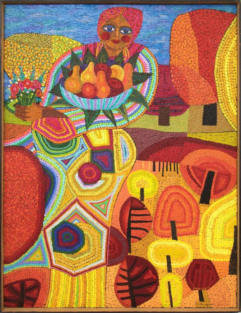 Edward Marecak Figurative Painting - Demeter (Semi-Abstract Painting of woman holding fruit: Orange, Yellow, Blue)