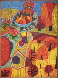 Demeter (Semi-Abstract Painting of woman holding fruit: Orange, Yellow, Blue)