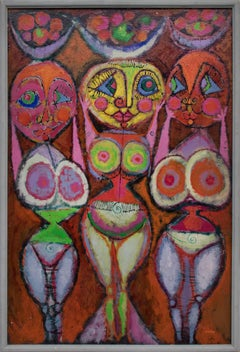 Fertility Goddesses Abstract, Female Nude, Orange, Yellow, Purple, Pink, Green