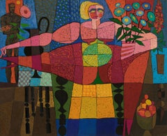 Goddess of Fertility, 1960s Semi Abstract, Nudes, Flowers, Red Blue Yellow Green
