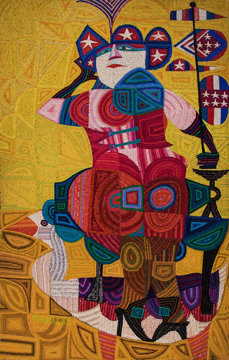 Edward Marecak Abstract Painting - Liberty Rides the Goose