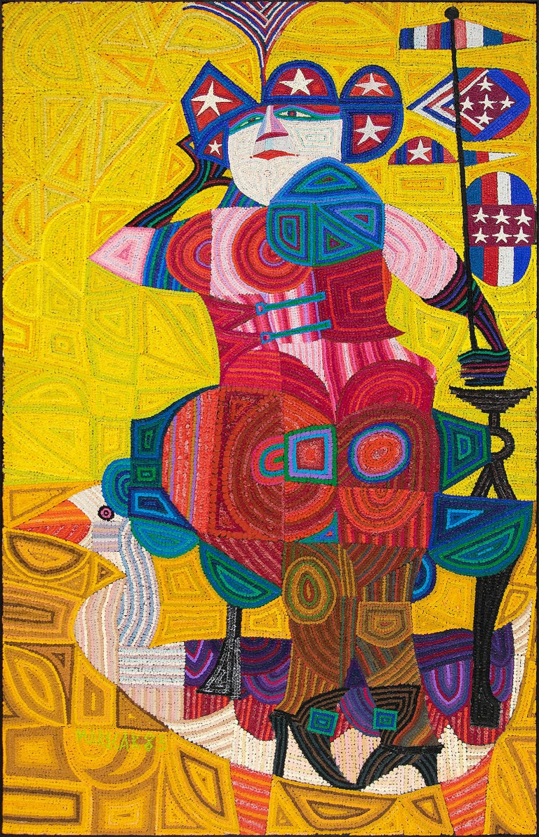 Edward Marecak Figurative Painting - Liberty Rides the Goose (Semi-Abstract Painting of Lady Liberty Riding a Goose)
