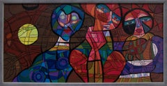 Oh What a Tangled Web We Weave (Vintage Cubist Semi-Abstract Painting 3 Figures)
