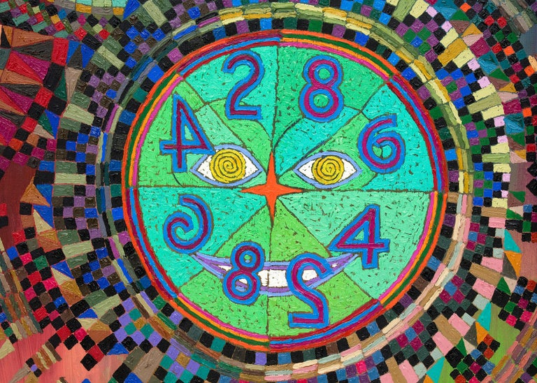 Prismatic Clocks in the Upside Down World (Abstract Painting: Blue, Yellow, Red) For Sale 1