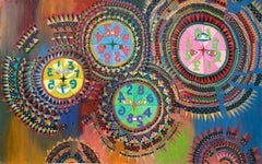 Prismatic Clocks in the Upside Down World (Abstract Painting: Blue, Yellow, Red)