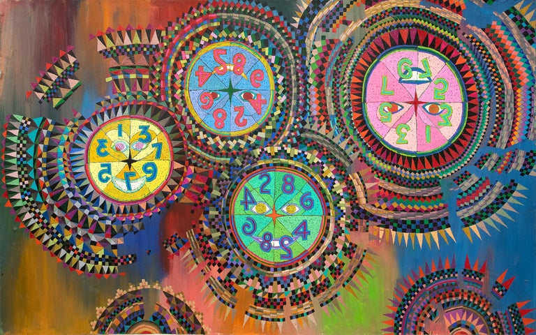 """Original painting by 20th century Denver modernist, Edward Marecak (1919-1993). """"Prismatic Clocks in the Upside Down World"""" a semi-abstract composition in a wide range of colors, including green, pink, coral, blue, green and orange. Unframed, custom"""