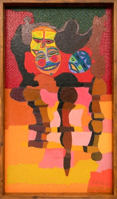 Still Life with Masks (Vintage Semi-Abstract Painting, Red, Pink, Yellow, Green)