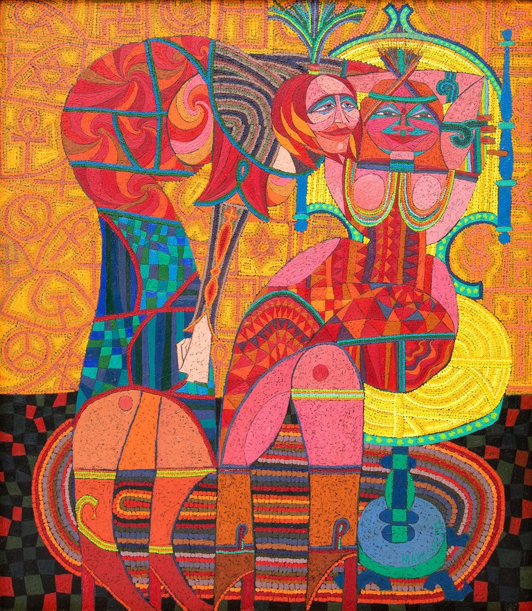 Sybils Telling Cosmic Jokes On Mankind, Abstract with Orange, Yellow, Red & Blue - Painting by Edward Marecak