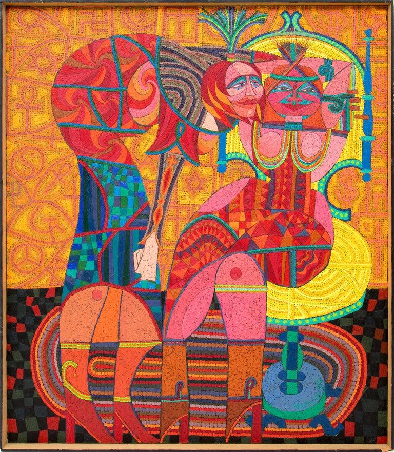 Edward Marecak Figurative Painting - Sybils Telling Cosmic Jokes On Mankind, Abstract with Orange, Yellow, Red & Blue