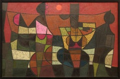 The Argument, Abstract Painting in Red, Black, Green, Pink, Orange, Blue, Yellow