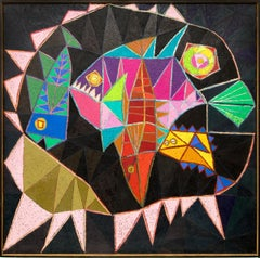 The Big Fish Eats The Little Fish, Abstract in Black, Pink, Yellow, Orange, blue