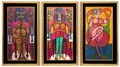 The Dance of Salome (Triptych) Semi Abstract, Pink Red Brown Yellow Green Blue