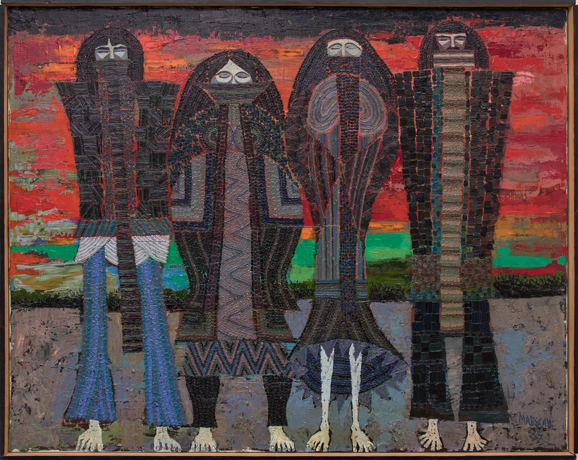 The Four Winter Months (Semi Abstract Figures in Black, Blue, Red, Gray, Green)