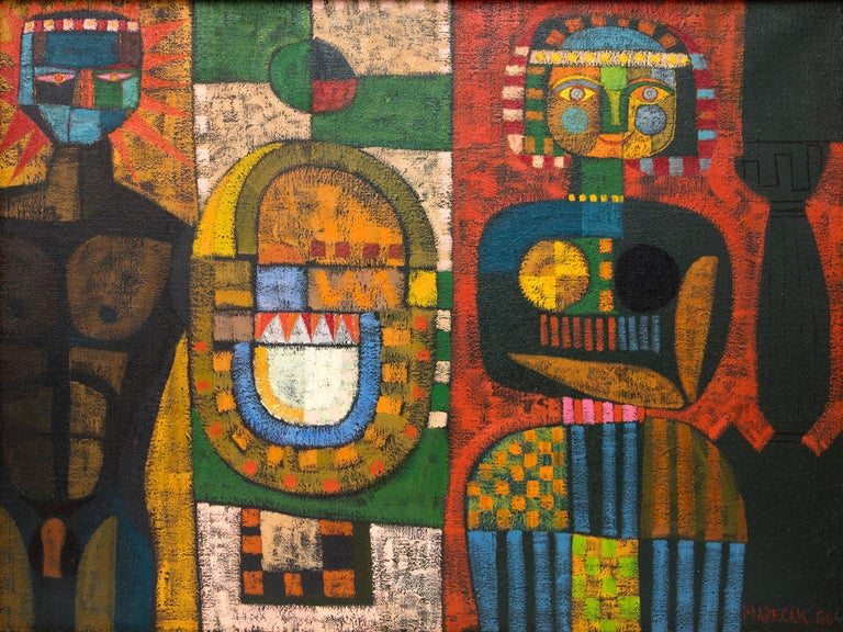 The Return Of Ulysses, vintage 1960 oil painting, semi-abstract with cubist figures including a male nude, by Edward Marecak (1919-1993).  Painted in colors of red, blue, golden yellow, orange, green, blue, brown, black and white. Oil paint on