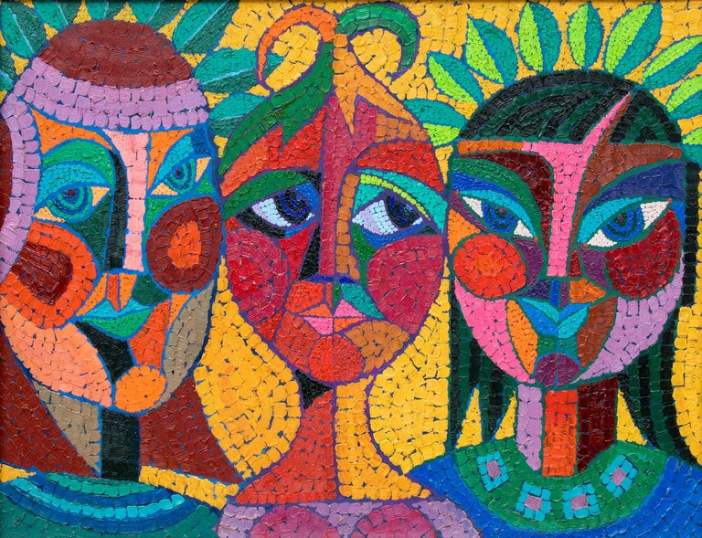 The Three Fates Thinking Mysterious Thoughts, Semi-Abstract Cubist Female Heads - Painting by Edward Marecak