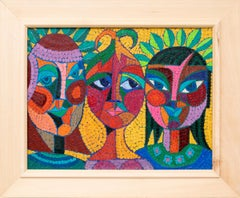 The Three Fates Thinking Mysterious Thoughts, Semi-Abstract Cubist Female Heads