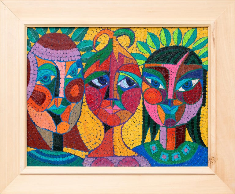 Edward Marecak Portrait Painting - The Three Fates Thinking Mysterious Thoughts, Semi-Abstract Cubist Female Heads