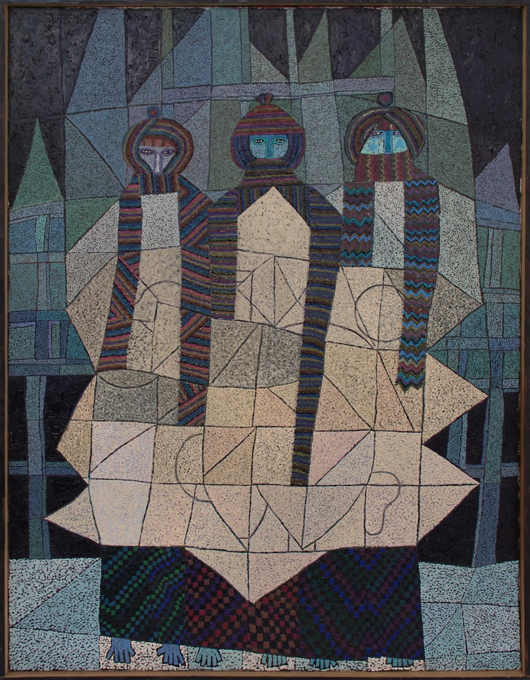 Three Winter Months - Black Abstract Painting by Edward Marecak