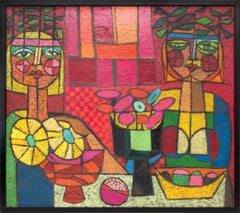Two Ladies Trying to Out-Mystify Each Other, Semi Abstract, Cubist Painting