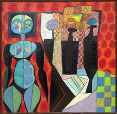 Witch with Still Life, Abstract, Cubist Painting, Red, Blue Black, Orange, Green