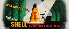 Original Vintage Poster New Shell Lubricating Oil Great Success Artist Mannequin