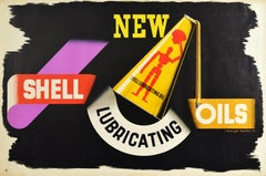 Original Vintage Poster New Shell Lubricating Oils Motor Oil Can Logo Mannequin