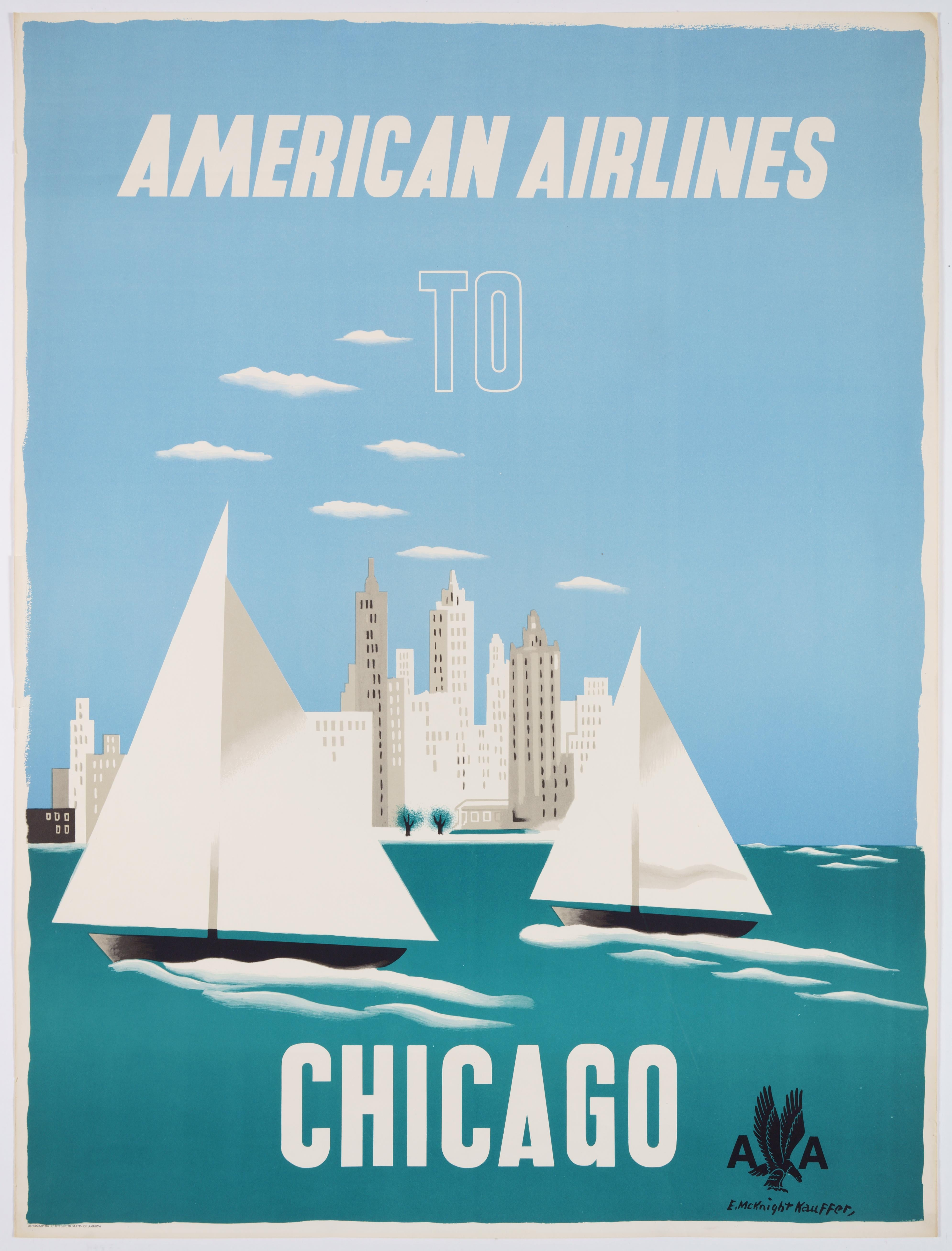 Original Vintage Travel Poster – American Airlines to Chicago