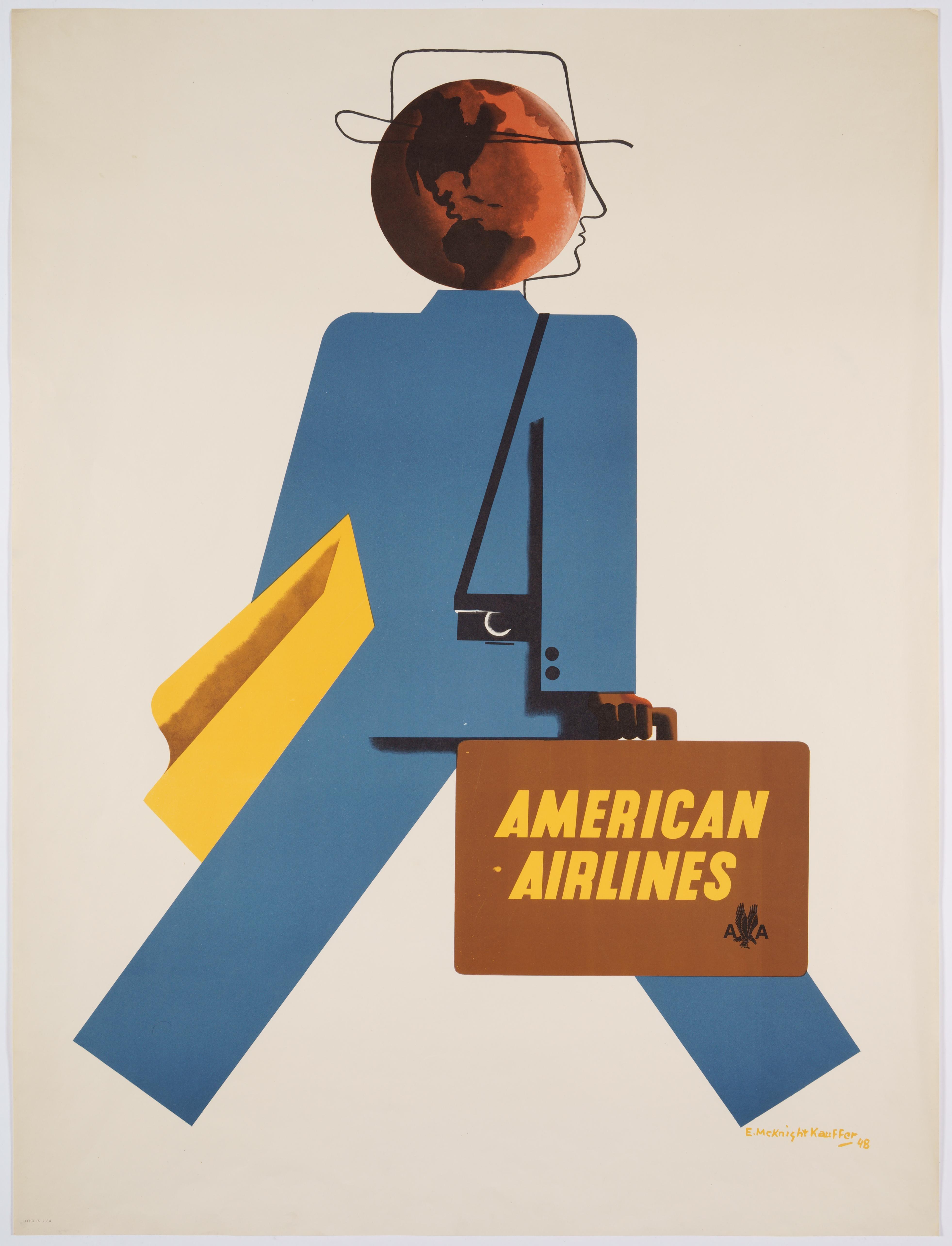 Original Vintage Travel Poster promoting American Airlines, 1948