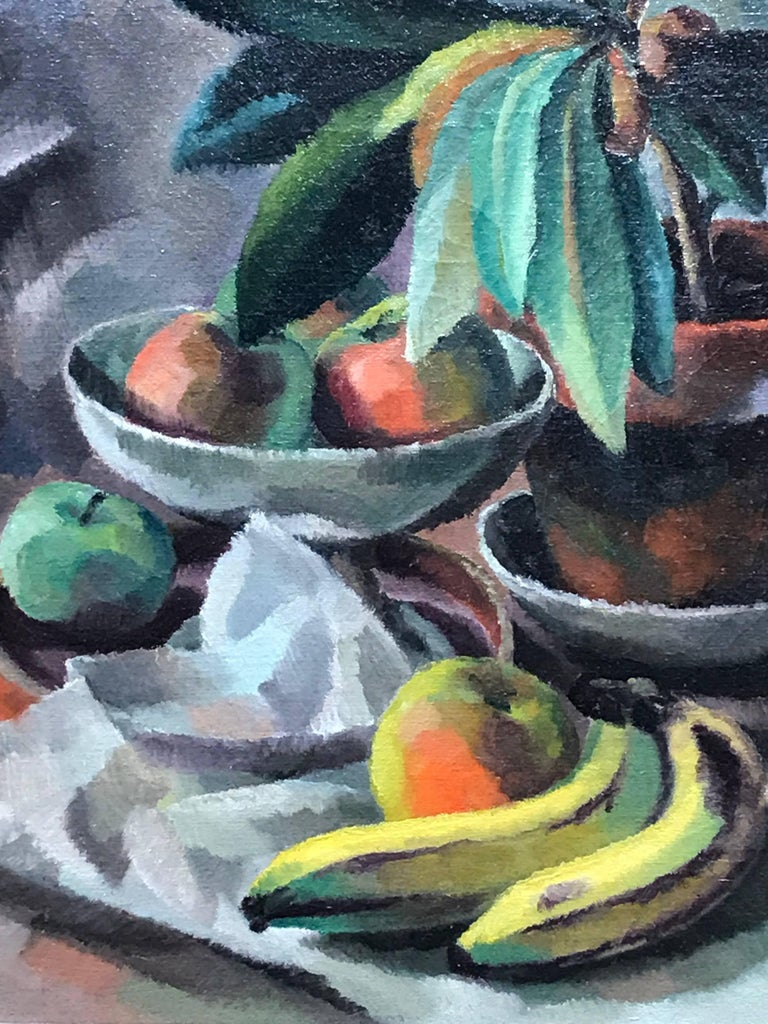 Bananas and Apples in a Compote, Modernist Still Life Painting, 1920-1922 - Brown Still-Life Painting by Edward Middleton Manigault