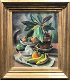 Bananas and Apples in a Compote, Modernist Still Life Painting, 1920-1922