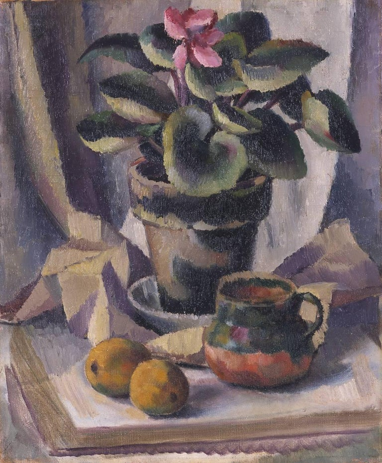 Cyclamen, Modernist Still Life Painting, 1922 - Brown Still-Life Painting by Edward Middleton Manigault