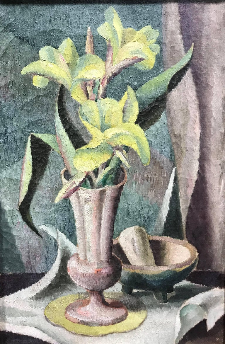This modernist floral still life painting has a distinguished lineage. It was originally owned by Mrs. E. Douglas Graydon, an important patron of the artist, and was formerly in the collection of the Norton Museum of Art. Manigault's work of the