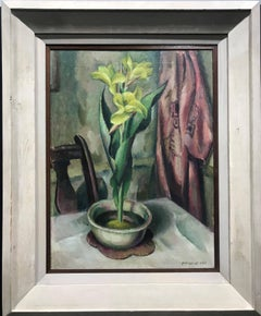 Yellow Canna Lily, Modernist Still Life Painting, 1920