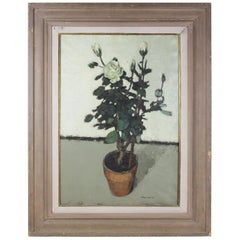Edward Molyneux Still Life with Potted Roses Oil Painting
