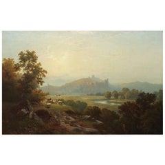 "Edward Moran Painting ""Landscape of Arundel Castle"" '1864'"
