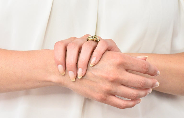 Edward Oakes Arts & Crafts 2.15 Carat Peridot 18 Karat Two-Tone Gold Ring For Sale 5
