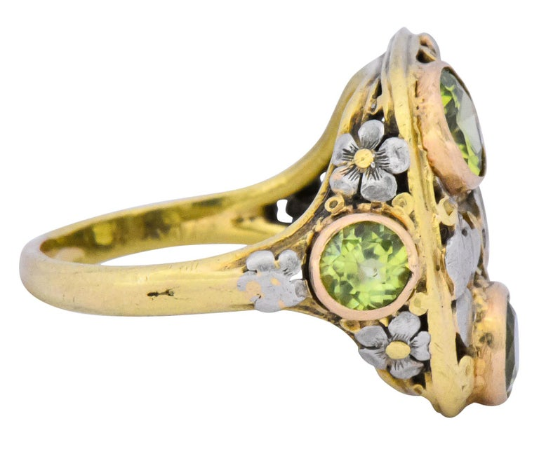 Arts and Crafts Edward Oakes Arts & Crafts 2.15 Carat Peridot 18 Karat Two-Tone Gold Ring For Sale