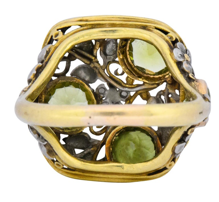 Round Cut Edward Oakes Arts & Crafts 2.15 Carat Peridot 18 Karat Two-Tone Gold Ring For Sale