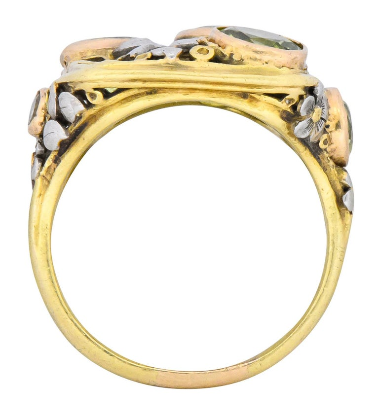 Edward Oakes Arts & Crafts 2.15 Carat Peridot 18 Karat Two-Tone Gold Ring For Sale 1