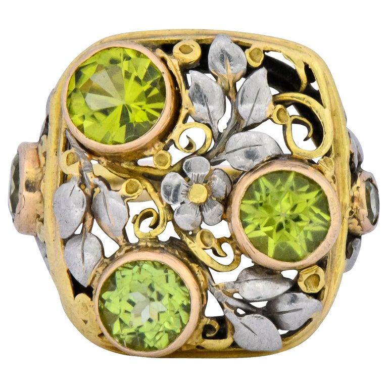 Edward Oakes Arts & Crafts 2.15 Carat Peridot 18 Karat Two-Tone Gold Ring For Sale