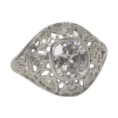 Edward Old Miner Diamond Ring, 1.18 Carat I Si1 Diamond Center, Platinum