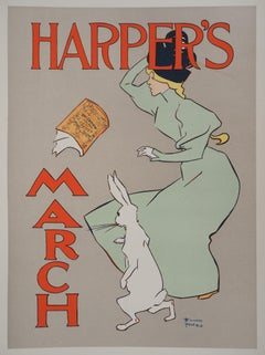 Alice and her rabbit (Harper's) - Lithograph (Les Maîtres de l'Affiche), 1895