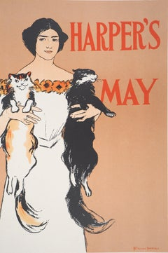 Young Lady and Two Cats (Harper's) - Lithograph (Les Maîtres de l'Affiche), 1897