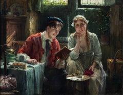 """The Beautiful Story"", period Belgian interior, romantic portraiture, oil/canvas"