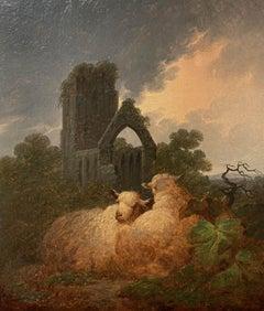 """Sheep grazing near abbey"""