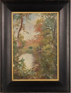 Antique American Plein Aire Impressionist Signed Landscape Framed Oil Painting