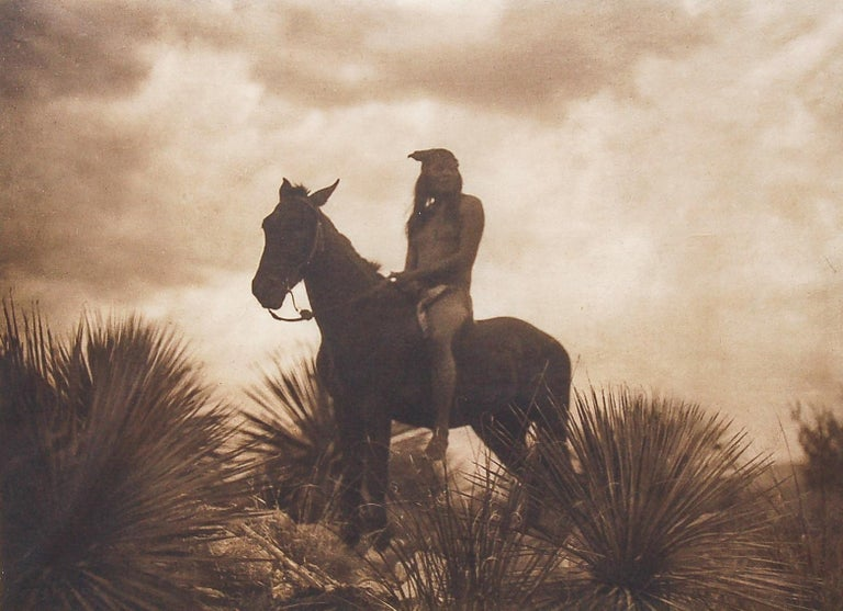 Edward S. Curtis The Scout - Apache, 1906 Photogravure Print  Vintage Large format Curtis Photogravure, Portfolio 1, Plate #13 of Edward S. Curtis's  The North American Indian, on Japan Tissue paper.  This iconic Curtis image appears in near