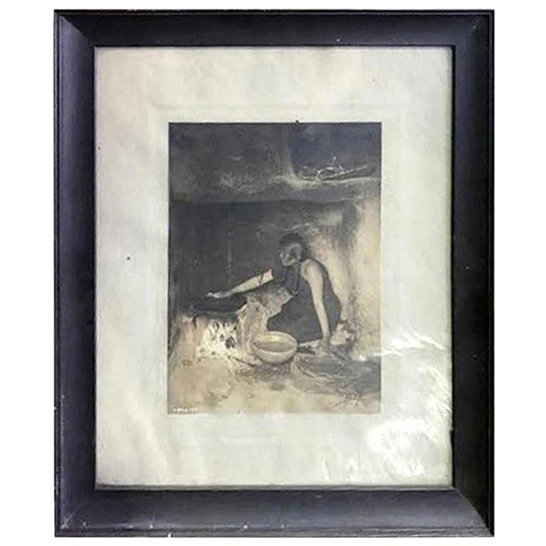 Edward S. Curtis Original Signed and Stamped Silver Toned Platinum Print, 1906 For Sale